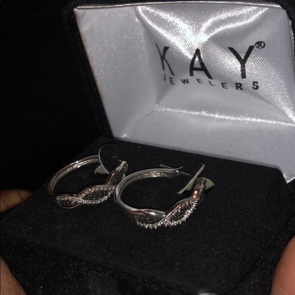 f4f7979e9 Kay Jewelers Jewelry | Black Diamond Sterling Silver Hoop Earrings ...